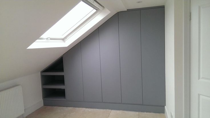 Eaves storage, wardrobe unit. Like no handles. But don't like open shelves!