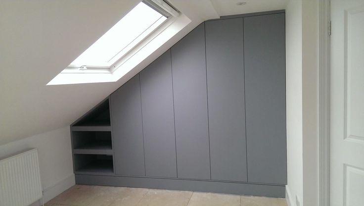 Eaves storage, wardrobe unit. Like no handles. But don't like open shelves!