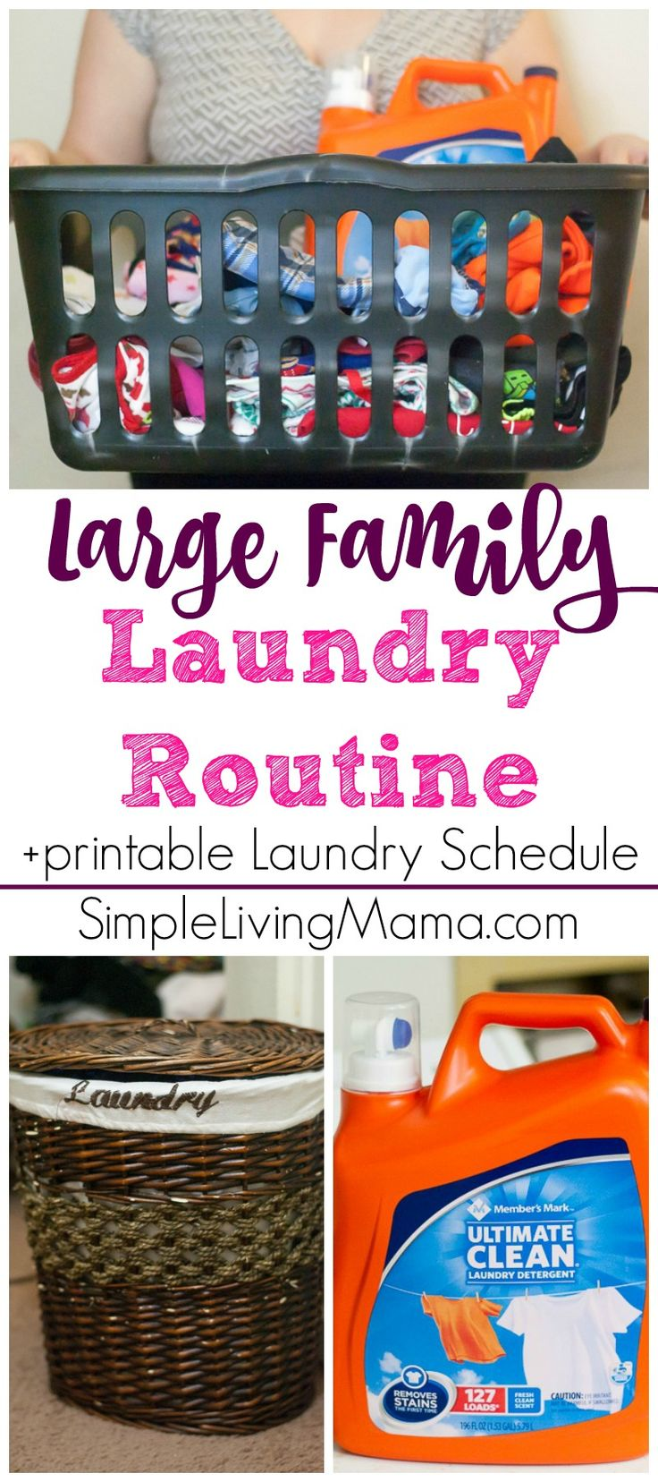 If you are struggling with the laundry, this large family laundry routine will help you figure out a routine that works for your family. Snag the free printable laundry schedule for a visual reminder of what to wash every day! #ad #membersmarkdetergent