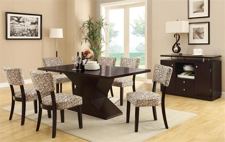 Cappuccino modern dining room set with a  rectangular wooden dining table featuring geometrically sculptured base.