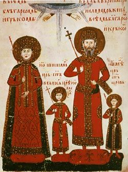Medieval miniature, 14th century.  Tzar Ivan Alexander and his wife. In between is their son Ivan Shishman, the last Bulgarian ruler.  Before the wedding Sarah a jewess was converted to Christianity and adopted the name of Theodora.     The first Jews appeared in the Balkans as early as the 2nd century, after the conquest of their lands by Rome. This had been recorded on a tombstone found near the town of Nikopol by the Danube river. These Jews were known as Romagnotes.