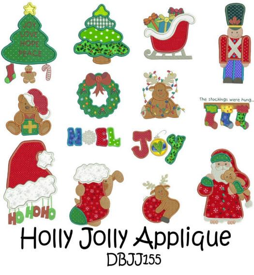 Embroidery Designs | Free Machine Embroidery Designs | JuJu Holly Jolly Applique