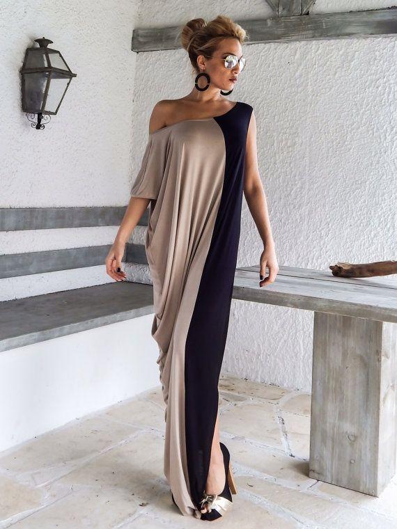 Black + Beige Maxi Dress / Black & Beige Kaftan / Asymmetric Plus Size Dress / Oversize Loose Dress / #35061