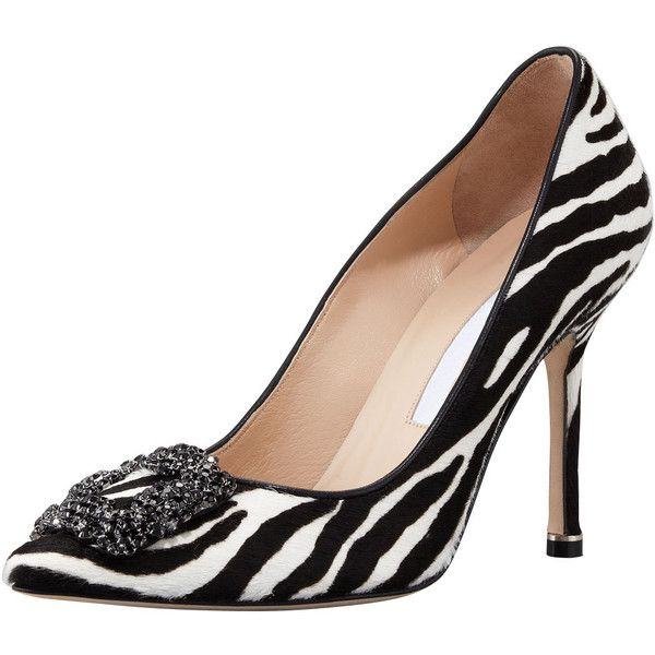 MANOLO BLAHNIK Hangisi Zebra-Print Calf Hair Pump (39,690 INR) ❤ liked on Polyvore featuring shoes, pumps, scarpe, zebra pumps, high heel pumps, pony hair pumps, manolo blahnik shoes and zebra print pumps