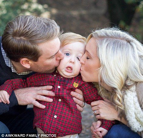A couple of over-zealous parents almost squash their young son in a bid to create a memorable image