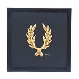 Handmade Wall or Table Laurel Wreath Gold Patinated on Black Leather, Framed 11.8'' (30cm)