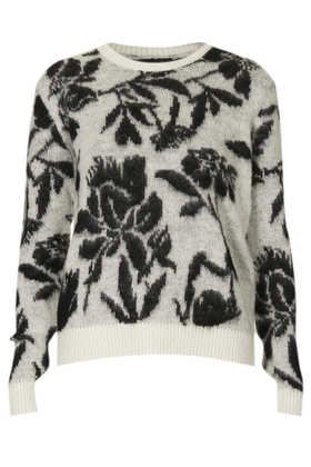Cream knitted brushed floral jumper
