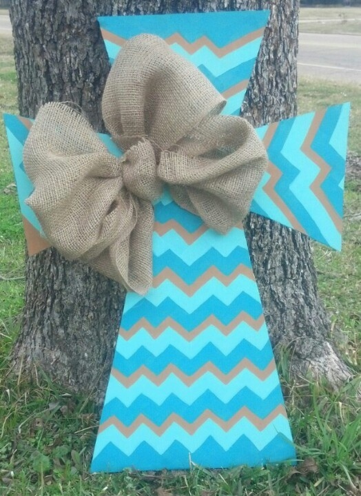 burlap crafts   chevron cross with burlap bow repinned from craft ideas by chelsea ...