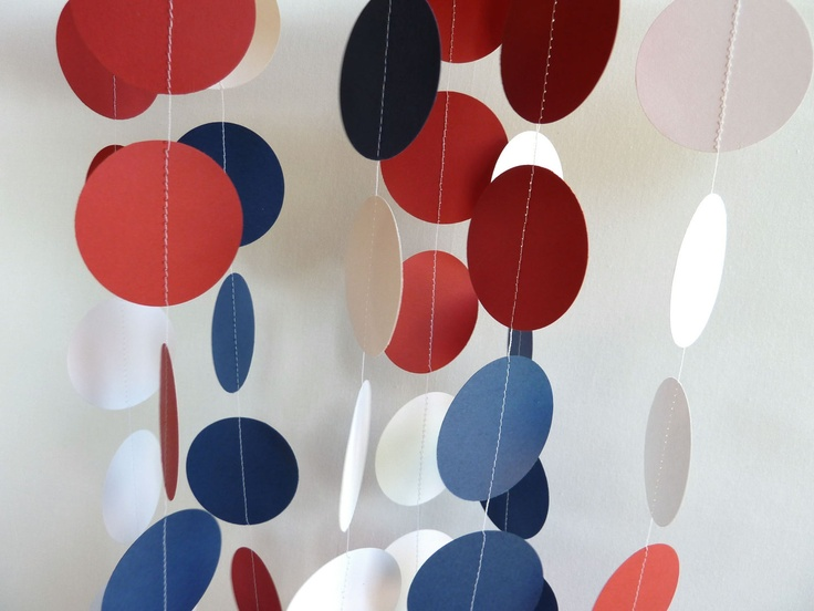 Paper Garland, Red, White, Blue, 4th of July Decoration. $10.00, via Etsy.