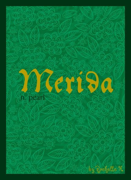 Baby Girl Name: Merida. Origin: Created name for a character in the Disney movie, Brave; Possibly a form of the Celtic name, Mairead, meaning Pearl. http://www.pinterest.com/vintagedaydream/baby-names/