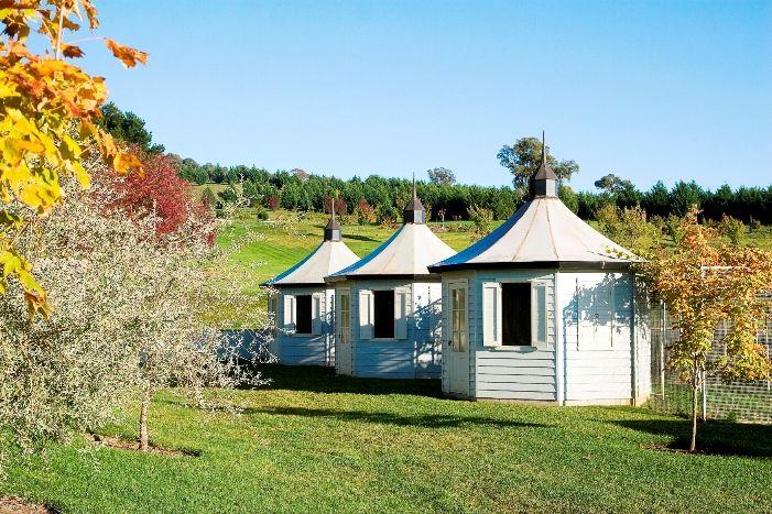 Hen houses in Autumn - Mayfield Garden, Oberon NSW Australia