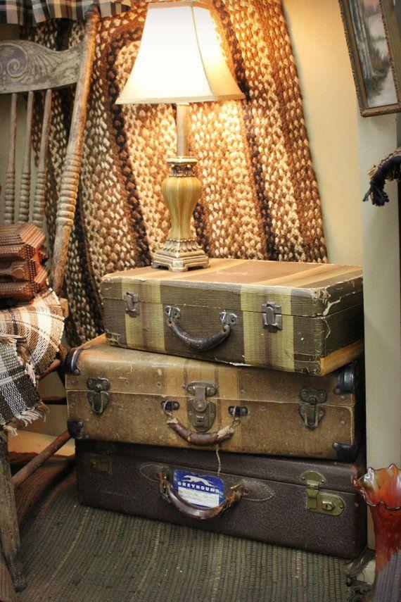 Antique Suit Case / Vintage Suit Case /  brown by CeliaAntiques, $58.00