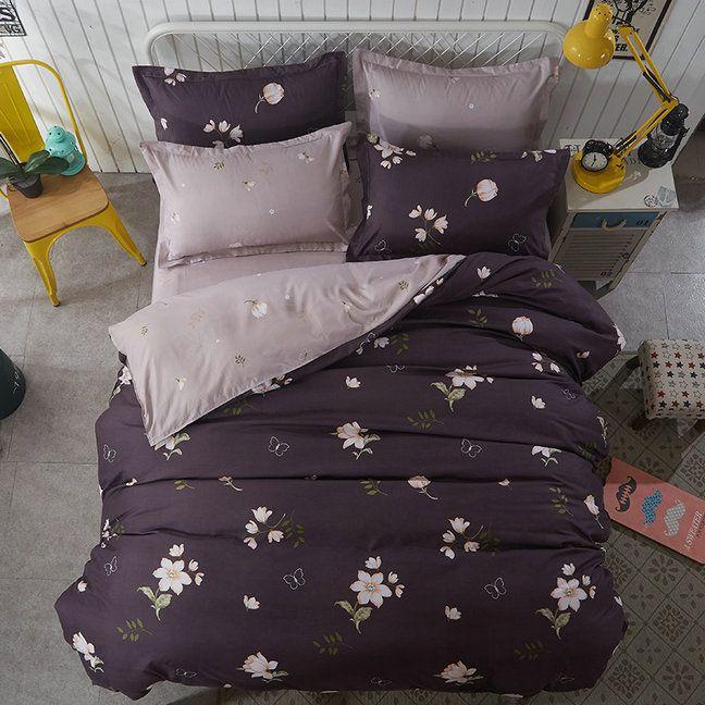 Obojstranné posteľné obliečky s kvetinovým vzorom