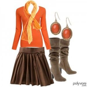 fall style.: Clothing Ideas, Brown Skirts, Dreams Closet, Style, Adorable Fall, Skirts Outfits, Orange And Yellow Outfits, Fall Outfits, Boots