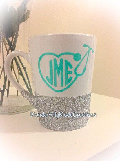 Monogram Stethoscope Coffee Mug//Nurse by WMCreationsShop on Etsy