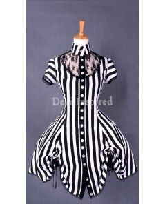 Gorgeous Zebra Striped Lace Steampunk Dress