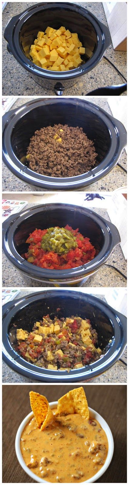 Tailgate Queso -- the recipe in this link is confused (photos and ingredients list for one dip with story and step-by-step directions for another), but here's what I'll do: 1lb spicy sausage (browned and drained), 1 lb Velveeta, 8 oz cream cheese, 2 cans Rotel, 1/2-1 jar jalapeños (roughly chopped) in crock pot.