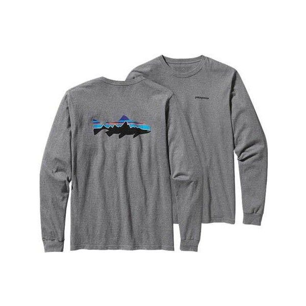 Men's Patagonia Long-Sleeved Fitz Roy Trout Cotton T-Shirt - Gravel... ($45) ❤ liked on Polyvore featuring men's fashion, men's clothing, men's shirts, men's t-shirts, grey, mens long sleeve shirts, mens t shirts, j crew mens shirts, patagonia mens shirts and mens long sleeve cotton t shirts