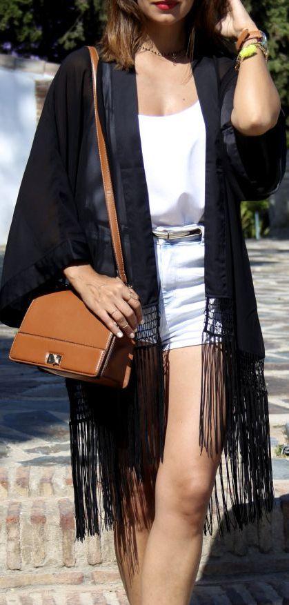 White Cami + White Denim Shorts + Black Sheer Fringe Kimono + Belt