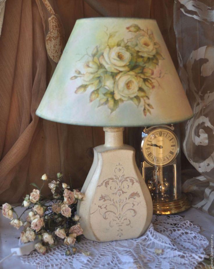 """Купить """"Нежность роз""""настольная лампа - лампа, шебби-шик, розы, мятный, интерьер спальни"""