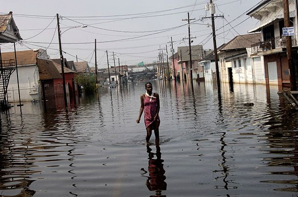 Hurricane Katrina, New Orleans, 2005 1,836 dead Probably the costliest natural disaster ever to hit the U.S. — estimates of the damages now total $81 billion — Katrina hit the Bayou coast with 175-m.p.h. (280 km/h) winds and made landfall as a Category 3 hurricane. About 80% of historic New Orleans was covered with water after the levees designed to protect it suffered 53 individual failures, and the low-lying city was inundated.