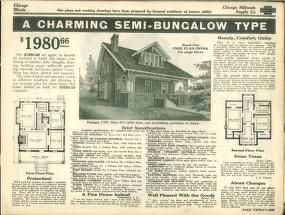 Plans of modern homes, Number 175; Two story bungalow with full width front porch, enters living room with fireplace to the left, doorway to sitting room to the right. The dining room is separated from the living room by a large cased opening. A large bay window allows plenty of light and air, and is connected to the kitchen by a large pantry. There is a pot/pan/kettle storage closet between kitchen and pantry. A coat closet is in the hallway near the living room. The large kitchen opens to…