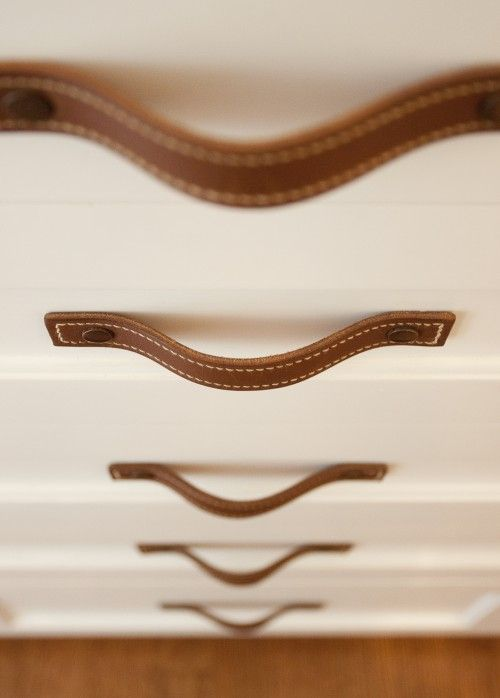 Leather drawer pulls... a simple but very equestrian chic touch for the tackroom, the home, the car...