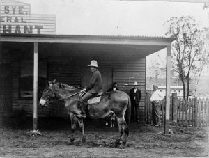 A horserider is pictured in front of Lee Sye's general store in Atherton in 1904   Atherton Tablelands   Queensland   Australia
