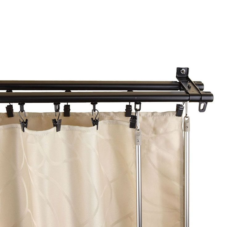 Rod Desyne Armor Wall Mount Adjustable Traversing Double Curtain Track, Black