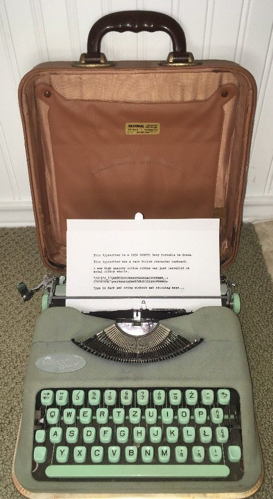 Vintage 1958 Hermes Baby Portable Typewriter Green Turquoise & Case Switzerland | eBay