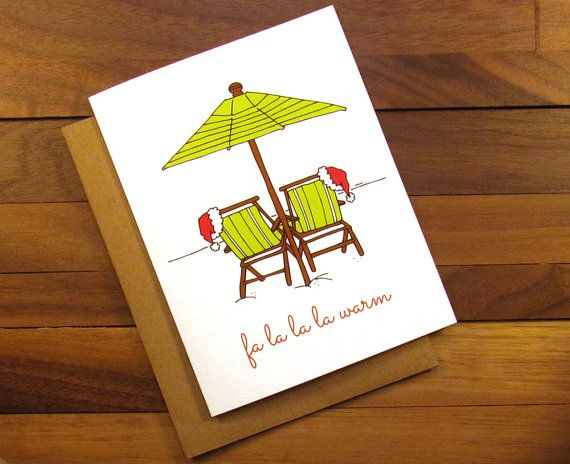 Funny Christmas Card  Tropical Christmas Card by ThePaintedKitchen