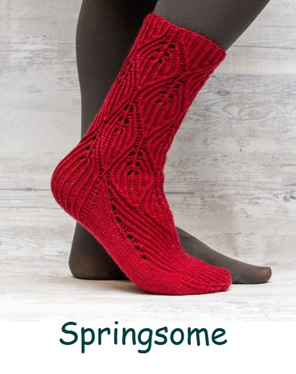 Springsome. A sock design with twisted stitches.