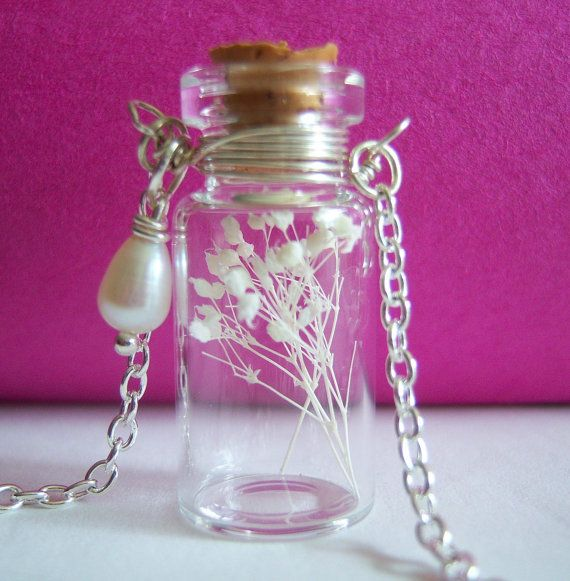 Tiny bottle necklace with white flowers #etsy
