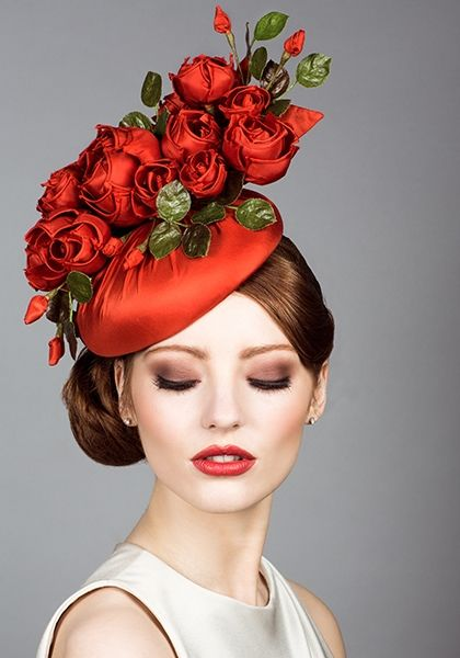 Silk taffeta beret pillbox with handmade roses |  The hat is lovely and the model's makeup is perfect!