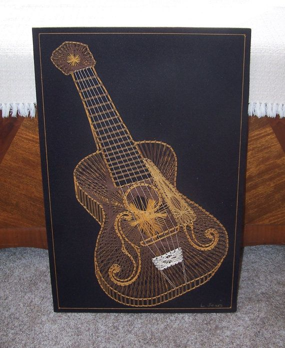 vintage gold guitar string art - 3D signed on Etsy, $50.00