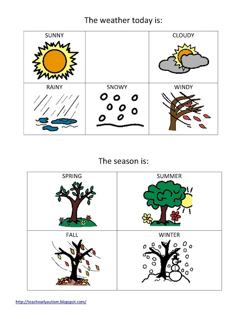 weather and seasons printable for preschool or elementary classroom! #autism #special education - use it in independent work binder