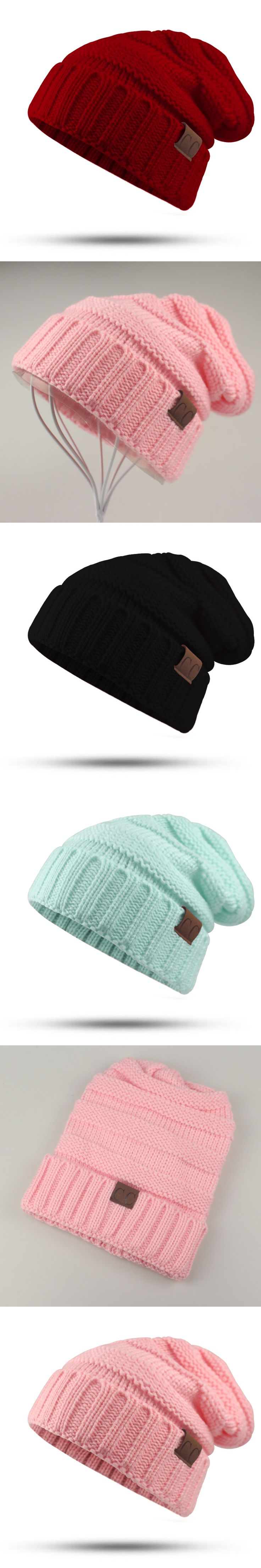 CC Labeling Winter Hat Female Male Unisex knitted Skullies Casual Hat For Men Women Solid Pink Skullies Autumn Beanies Caps