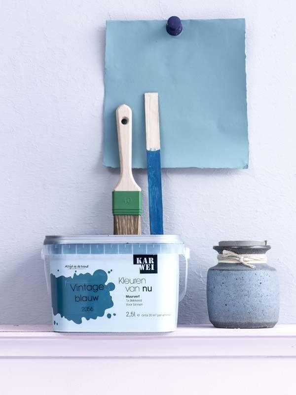 KARWEI | Durf te experimenteren met kleur in je huis, zoals deze Vintage blauwe kleur. #karwei #verf #inspiratie #kleurenvannu