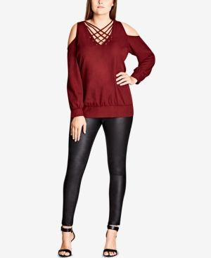 City Chic Trendy Plus Size Strappy-Front Cold-Shoulder Top - Red 22W