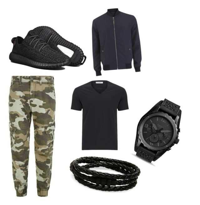 """Yeezy boost 350 outfit"" by mihai-cosmin on Polyvore featuring adidas, Versace, True Religion, Porsche Design, FOSSIL, men's fashion and menswear"