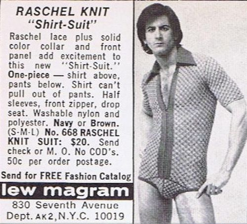 It's a shirt! No, it's underwear! Wait, maybe it's a mankini! Add a little fishnet, and you have the perfect garment for wherever your travels may take you...especially if it happens to be a San Francisco bathhouse! (ppc)