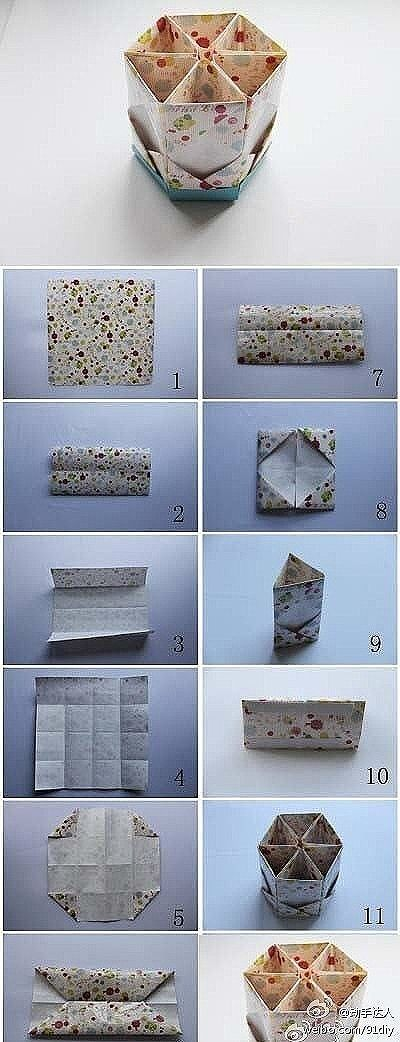 Origami Hexagon box -- tutorial for segments but not base