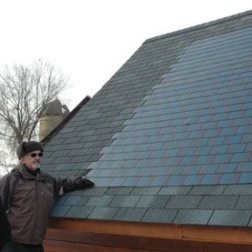 Sun Roof: Solar Panel Shingles Come Down in Price, Gain in Popularity ~~  Photovoltaic roof shingles, which are tax-subsidized and easier to install than bolt-on panels, have become a viable option for homeowners looking to lower their electric bills