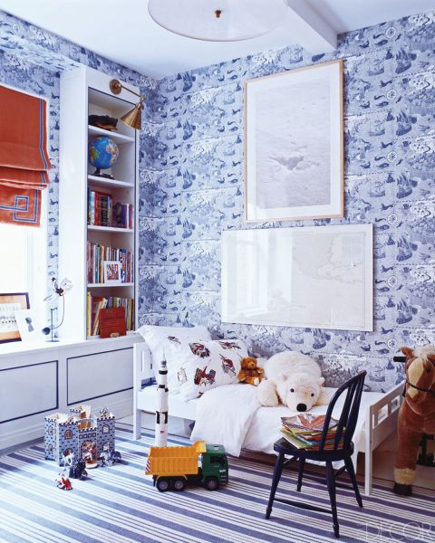 Designer Miles Redd used a crisp blue-and-white color scheme in this Manhattan children's room. Tour the home.