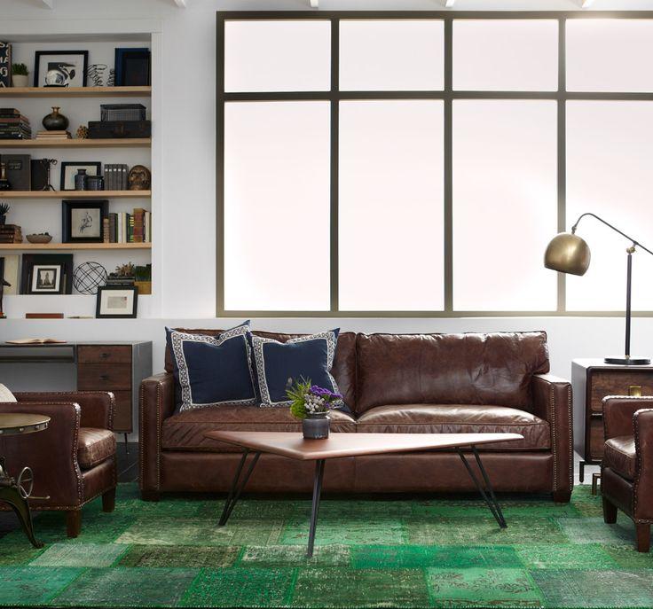 Flexsteel Sofa Larkin Seater Vintage Cigar Distressed Leather Sofa