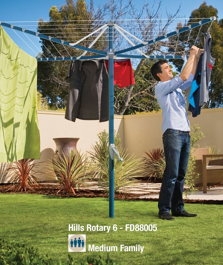 Hills Rotary Clotheslines- Rotary 6 for an medium size family! Easily holds double size sheets. Strong and reliable - watch your laundry gently spin in the breeze. Folds umbrella style and is easily removed from the included ground socket. Your Hills Rotary will last a lifetime!