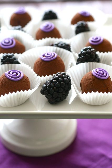 Elegant yet easy blackberry truffles! Inspires me to vary the ingredients to create other flavors and make multi-flavor gift boxes! I can easily imagine apricot, strawberry, raspberry, and orange. YUM!