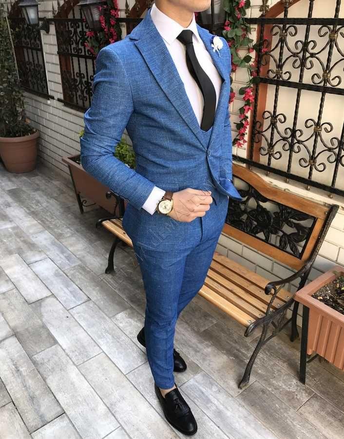 a79ca11ddf443 İtalyan stil erkek ceket yelek pantolon saks mavi takım elbise T2443   Erkek  takımı elbiseler   Mens fashion:__cat__, Fashion ve Mens suits