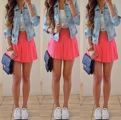 Like the skater skirt bright colour with a simple white ...