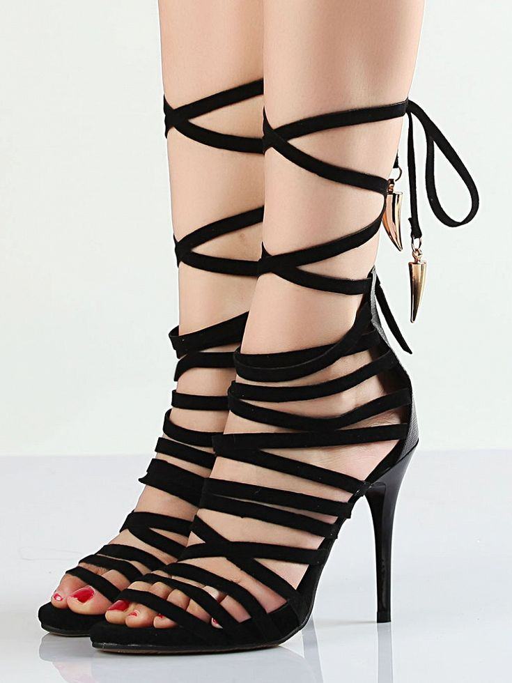 Image of Sandalias De Tacón De Gladiator Negro Superb 100% real leather black  heeled sandals